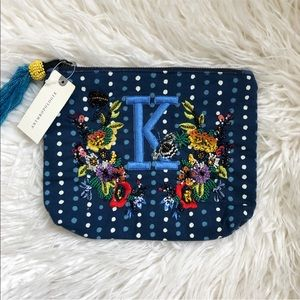 NWT Anthropologie Beaded Monogram Pouch